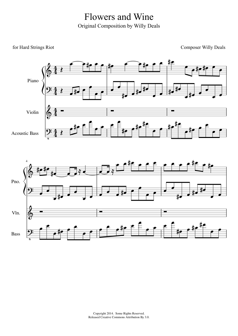 Flowers and Wine -- Latest Version sheet music for Piano, Strings