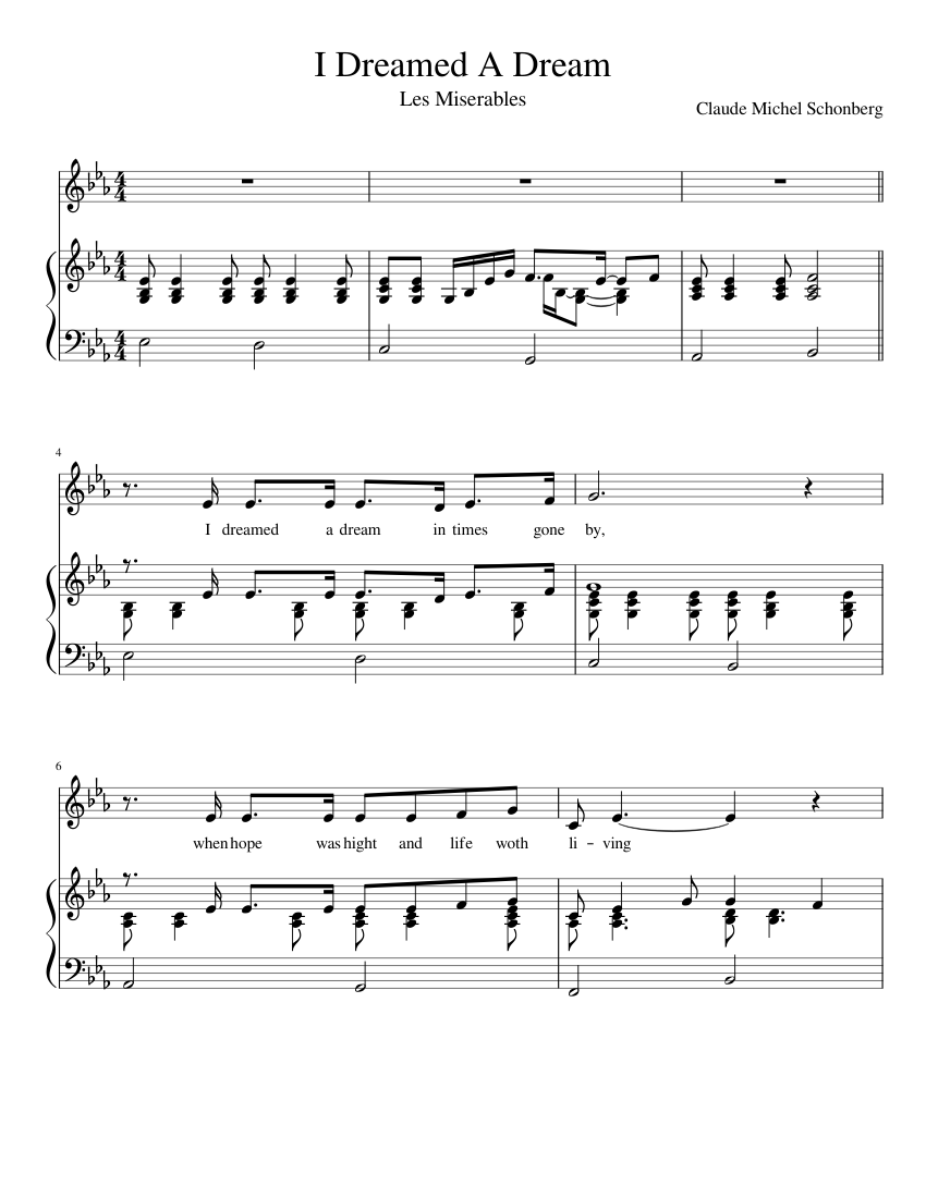 i dreamed a dream piano sheet music