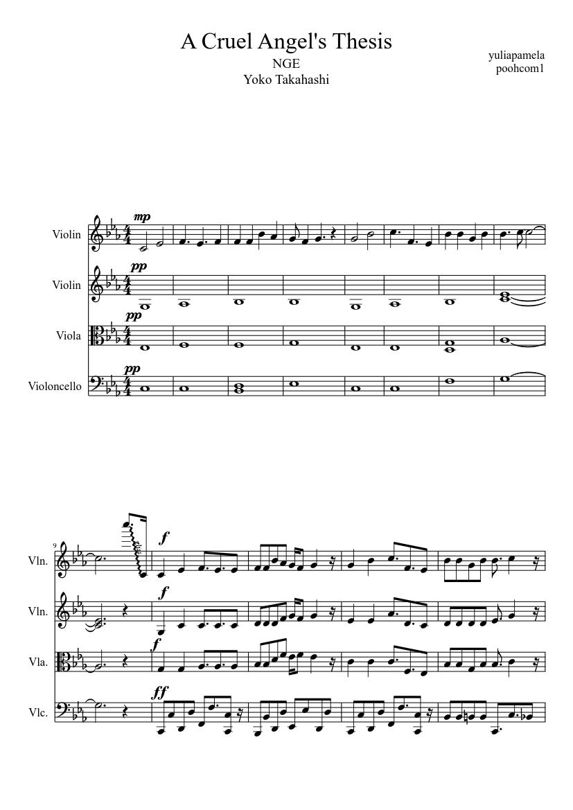 cruel angels thesis sheet music violin
