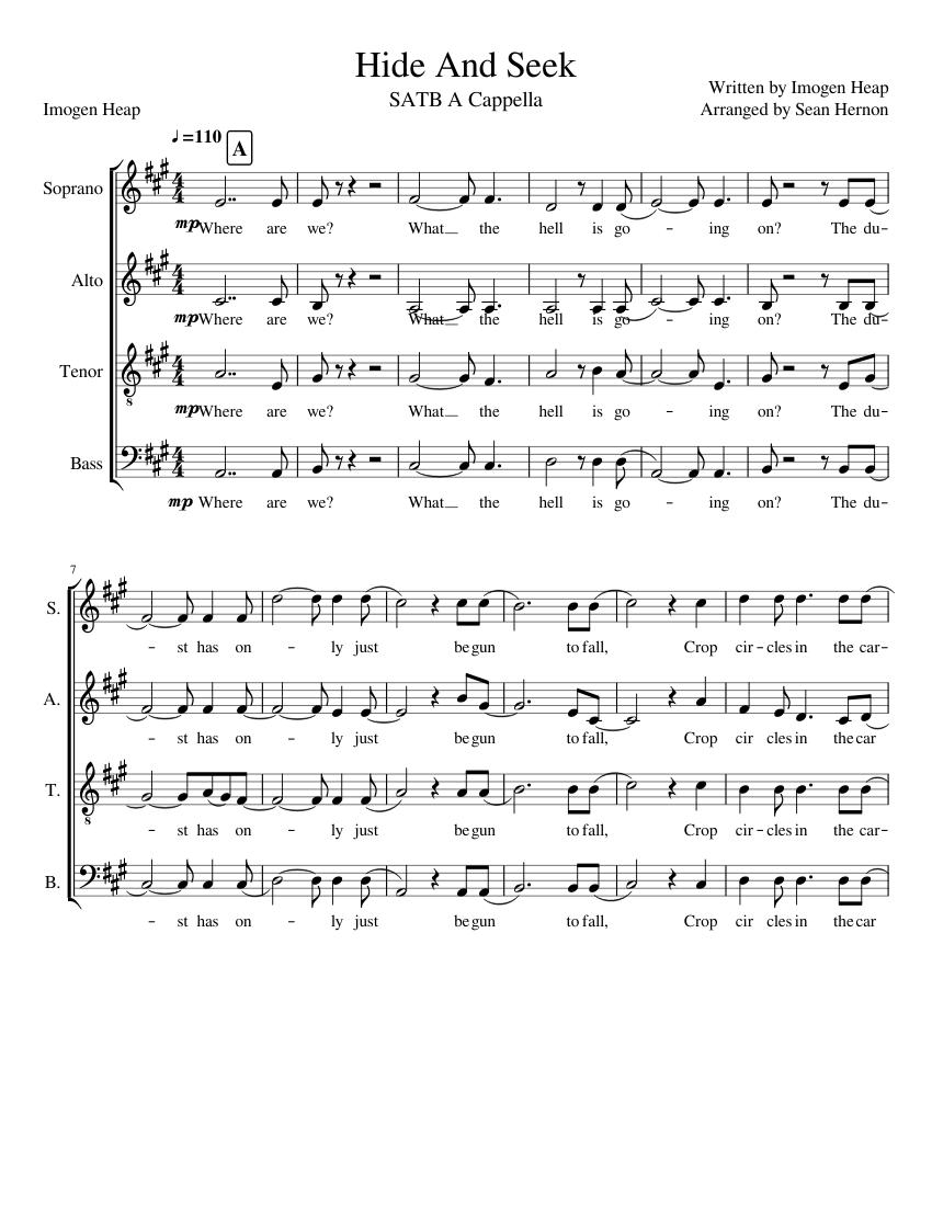 Hide and seek (imogen heap) sheet music for piano, bassoon.