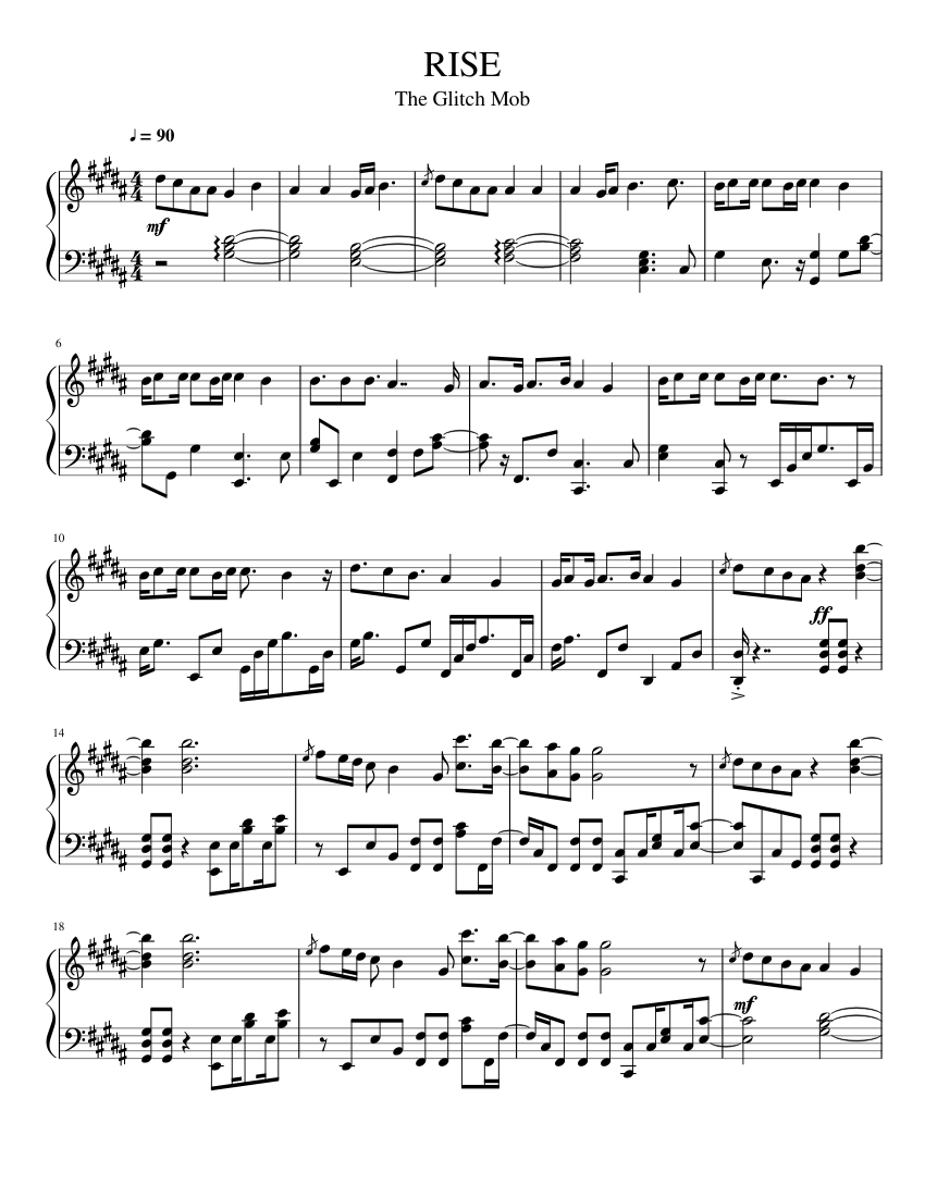 rise sheet music for piano (solo)   musescore.com  musescore.com