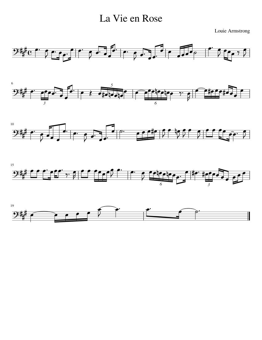 La vie en rose sheet music for voice, trumpet, guitar download.