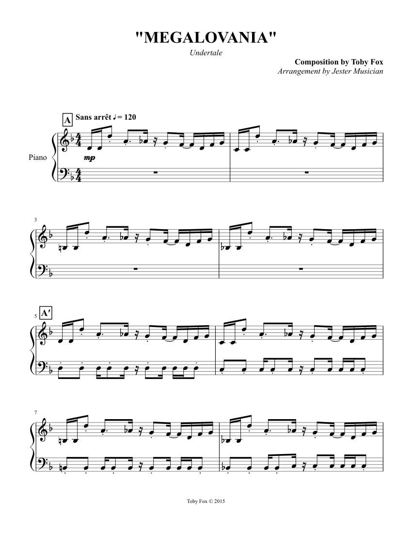 """Undertale - 100 """"MEGALOVANIA"""" sheet music for Piano ..."""
