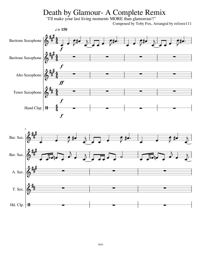 Death By Glamour A Complete Remix Sheet Music For Saxophone Alto Saxophone Tenor Saxophone Baritone Hand Clap Mixed Quintet Musescore Com That i can make your hands clap. complete remix sheet music