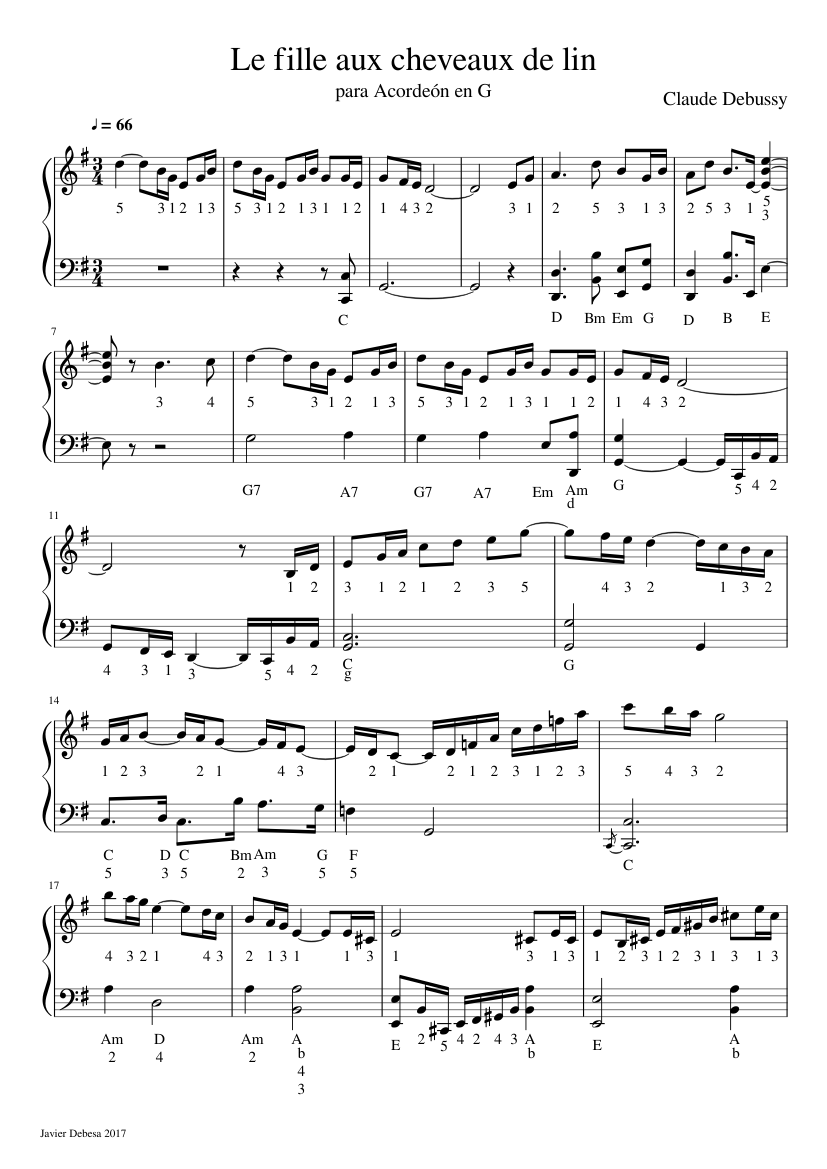 Le fille aux cheveaux de lin sheet music arranged by Javier Debesa for Solo – 1 of 2 pages