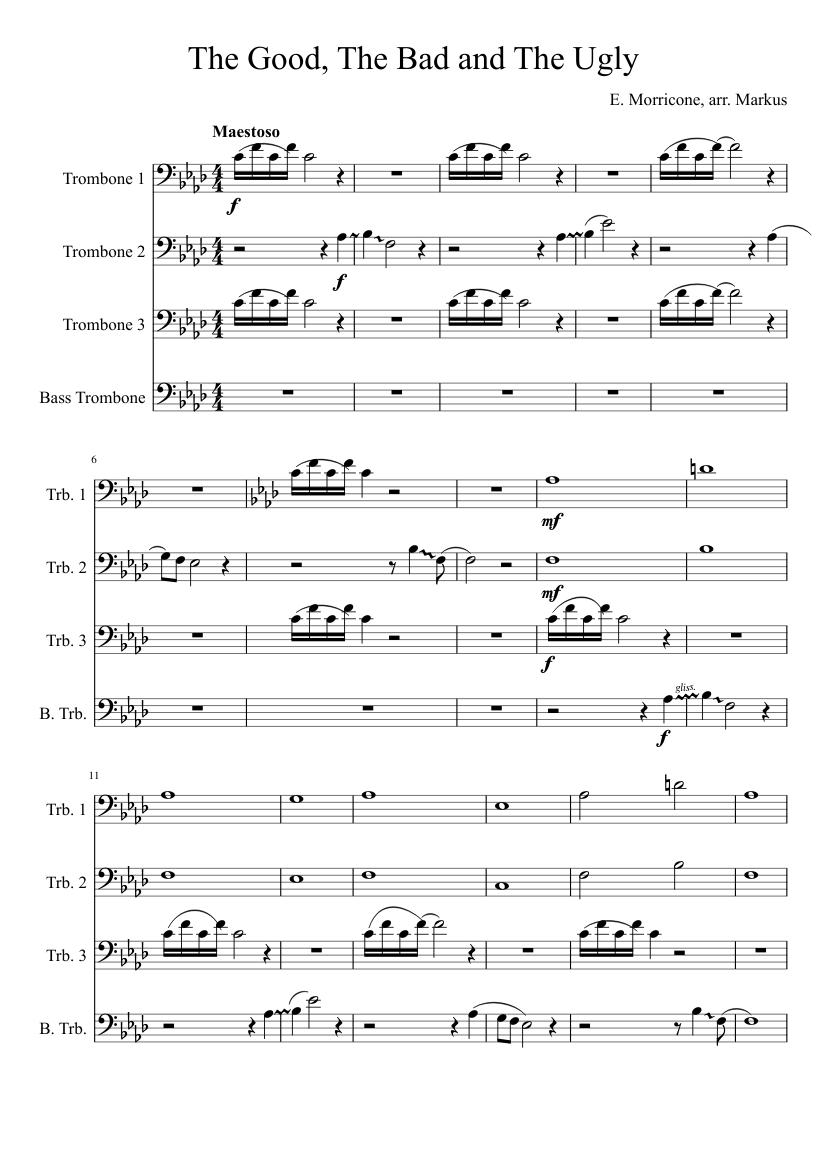 The good, the bad and the ugly brass quintet sheet music for.
