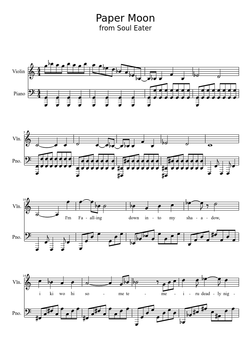 Paper moon/ soul eater for violin sheet music download free in pdf.