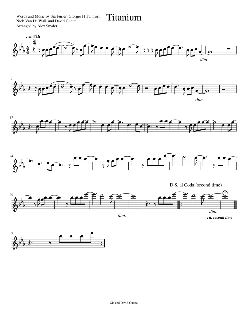 Titanium Flute Solo Sheet Music For Flute Download Free In Pdf Or Midi
