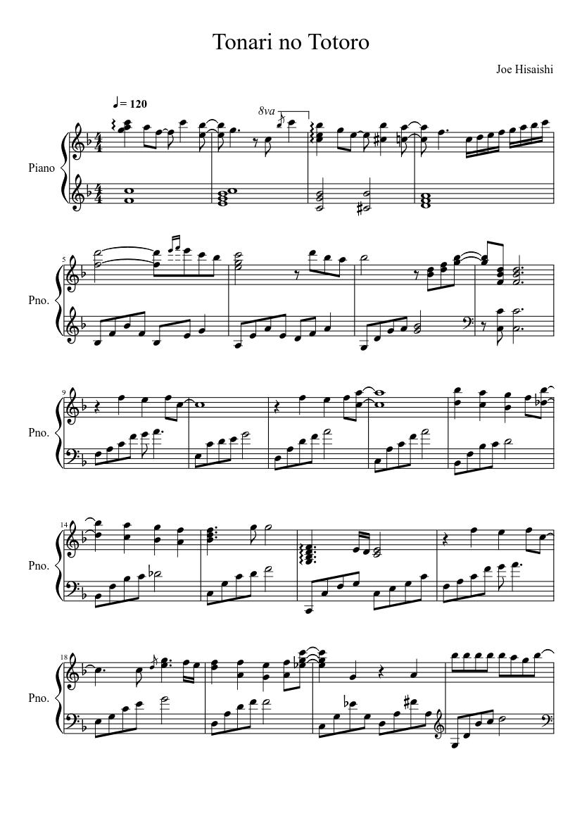 Tonari no Totoro sheet music composed by Joe Hisaishi – 1 of 7 pages