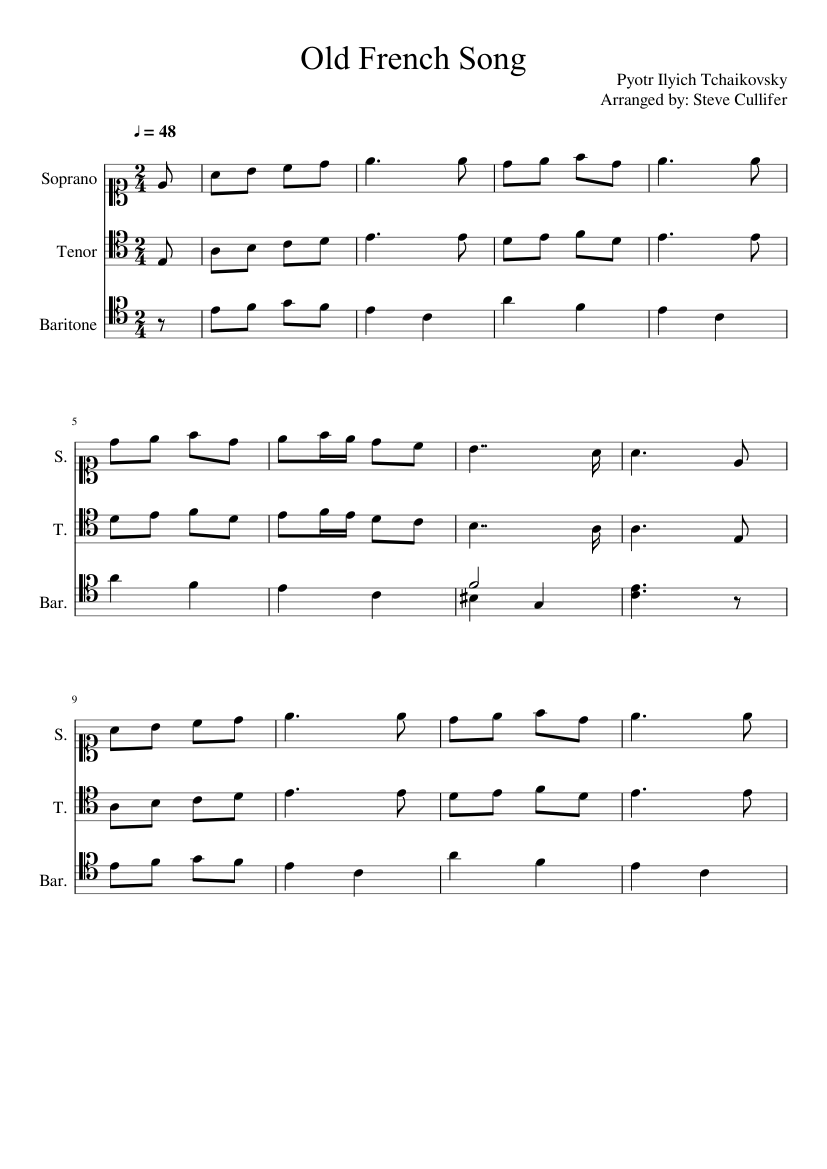Old french song 1. 0 sheet music for clarinet, piano, viola.