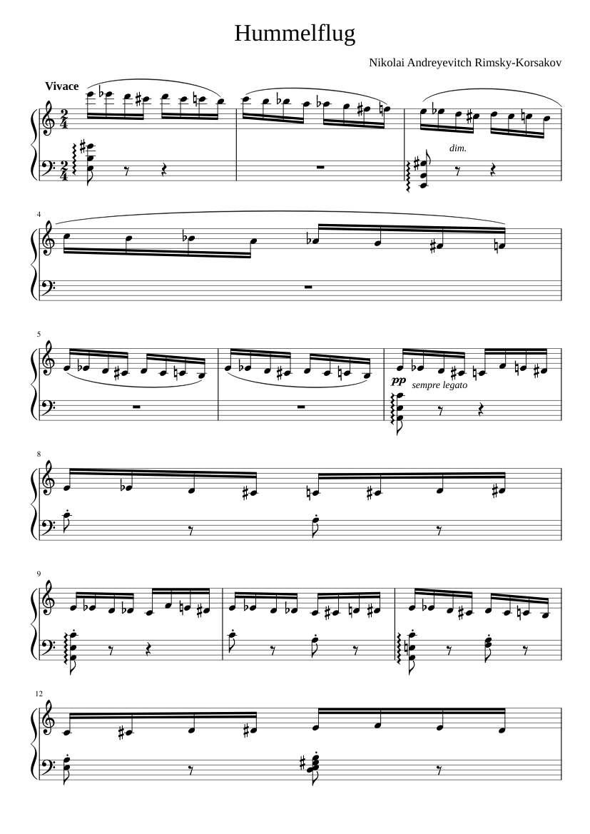 Flight of the Bumblebee sheet music for Piano download