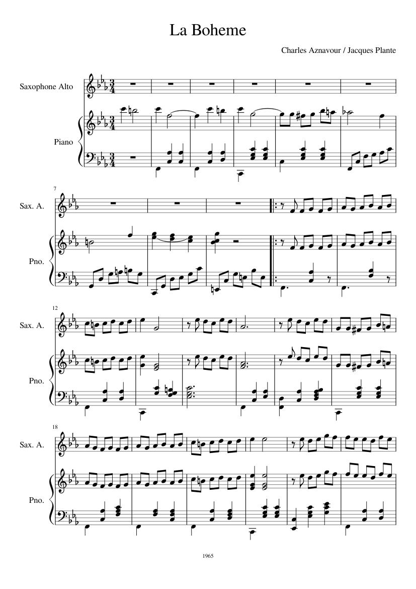 La Bohème Aznavour Partition Piano Pdf