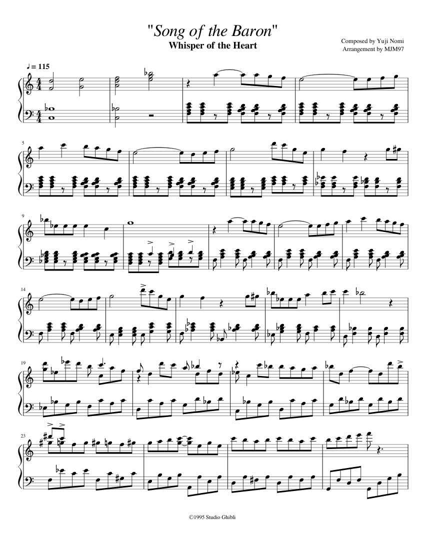"""Song of the Baron"" sheet music composed by Composed by Yuji Nomi Arrangement by MJM97 – 1 of 3 pages"