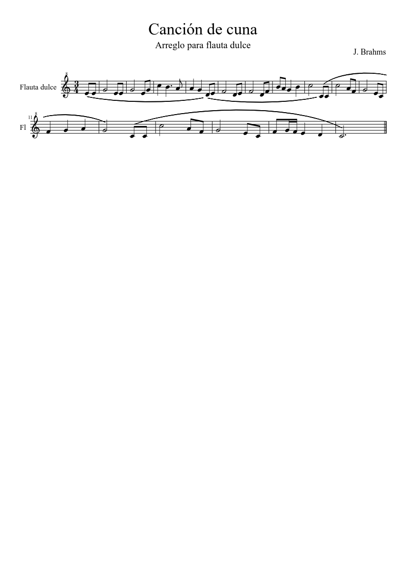 Cancion De Cuna Sheet Music For Recorder Solo Download And Print In Pdf Or Midi Free Sheet Music Musescore Com
