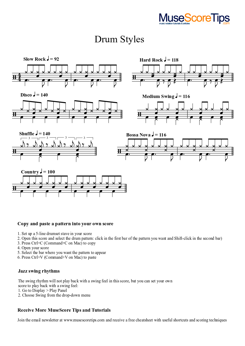 Drum Styles Grooves Sheet Music For Drum Group Solo Musescore Com