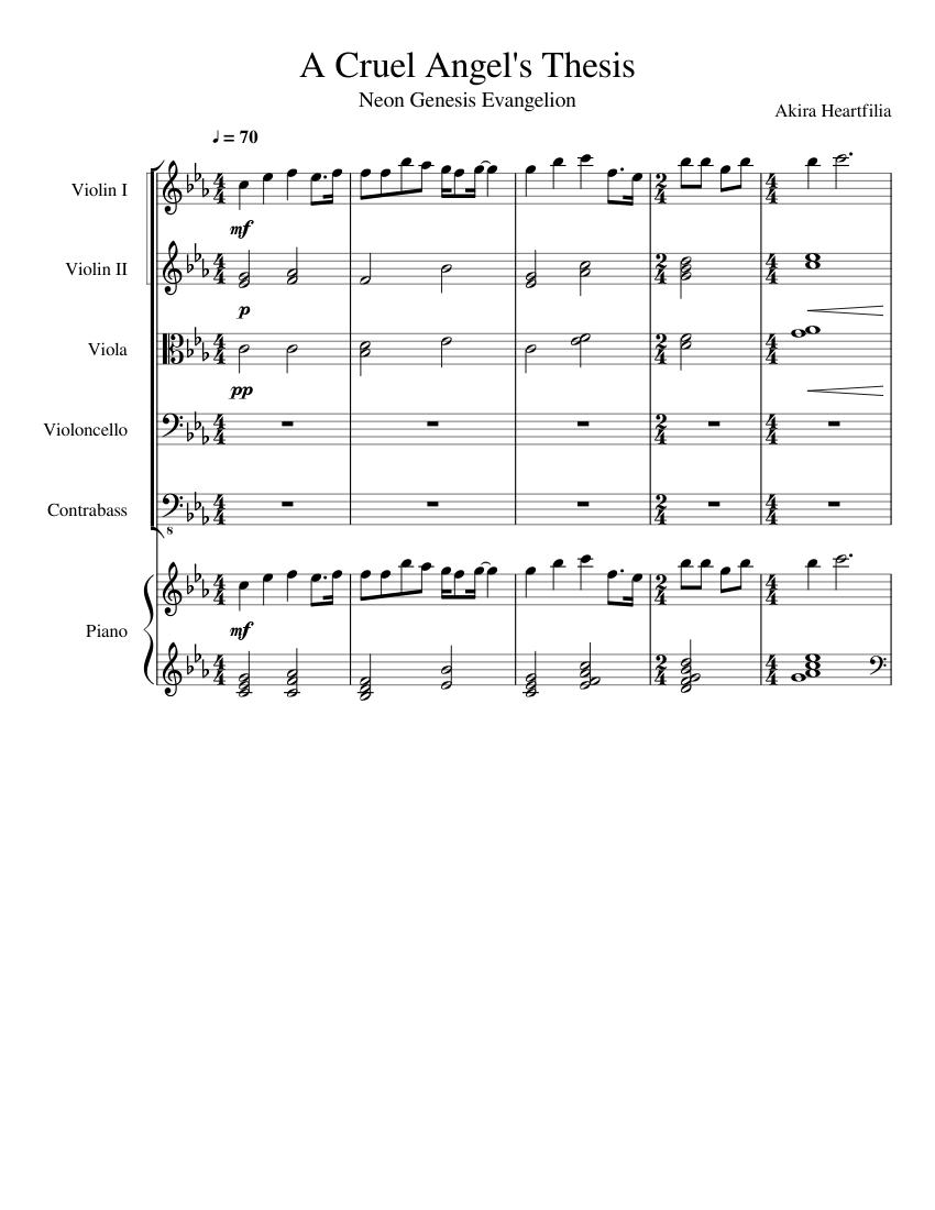 a cruel angels thesis sheet music violin