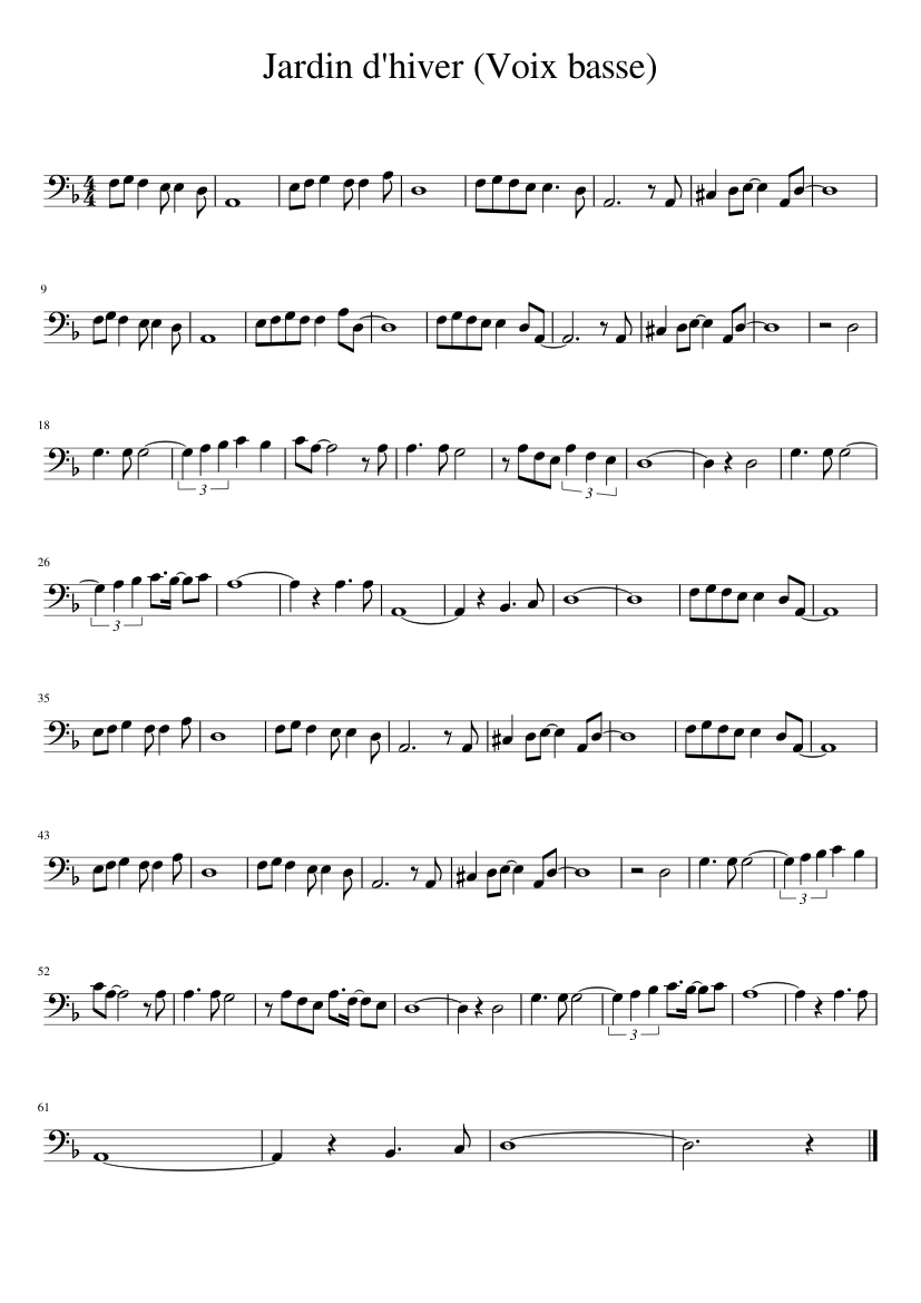 Jardin D Hiver Sheet Music For Piano Download Free In Pdf Or Midi