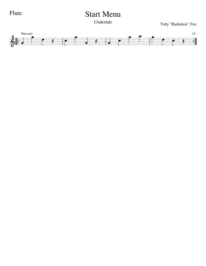 Start Menu (Undertale) for Flute sheet music for Flute download free