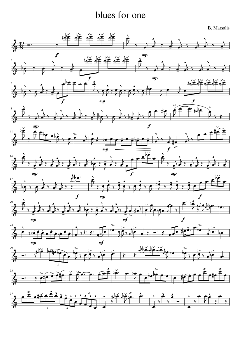 Blues for one for tenor sax sheet music for Tenor Saxophone