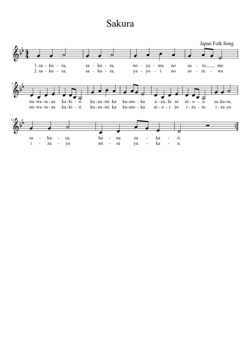 Sakura kiss-piano edition sheet music for piano download free in.