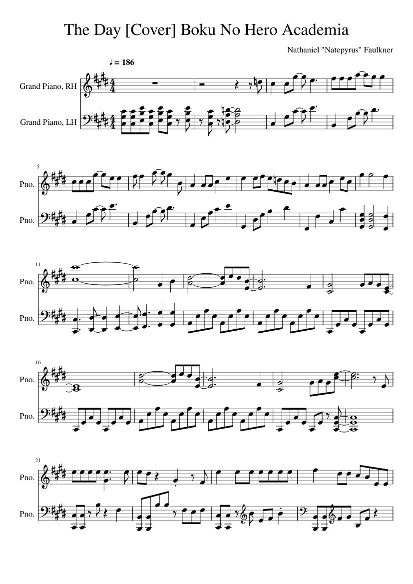 The Day Cover Boku No Hero Academia Sheet Music For Piano Piano Duo Musescore Com