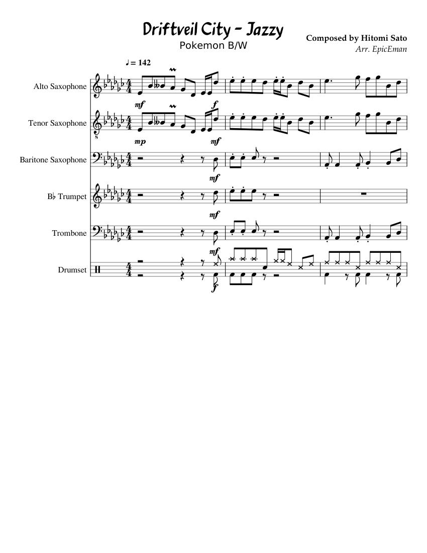Pokemon Black White Driftveil Jazz Sheet Music For Trumpet In B Flat Trombone Drum Group Saxophone Alto More Instruments Mixed Ensemble Musescore Com I hope you like them!! pokemon black white driftveil jazz