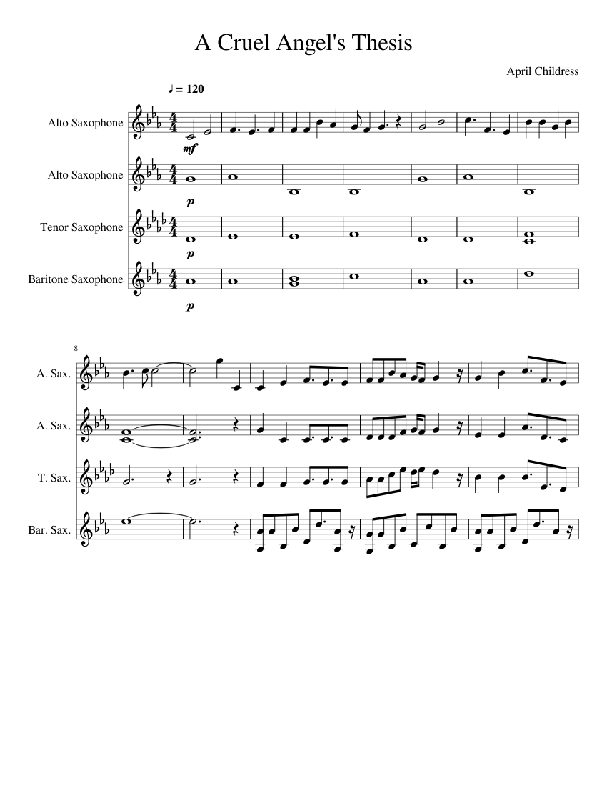 cruel angels thesis chords