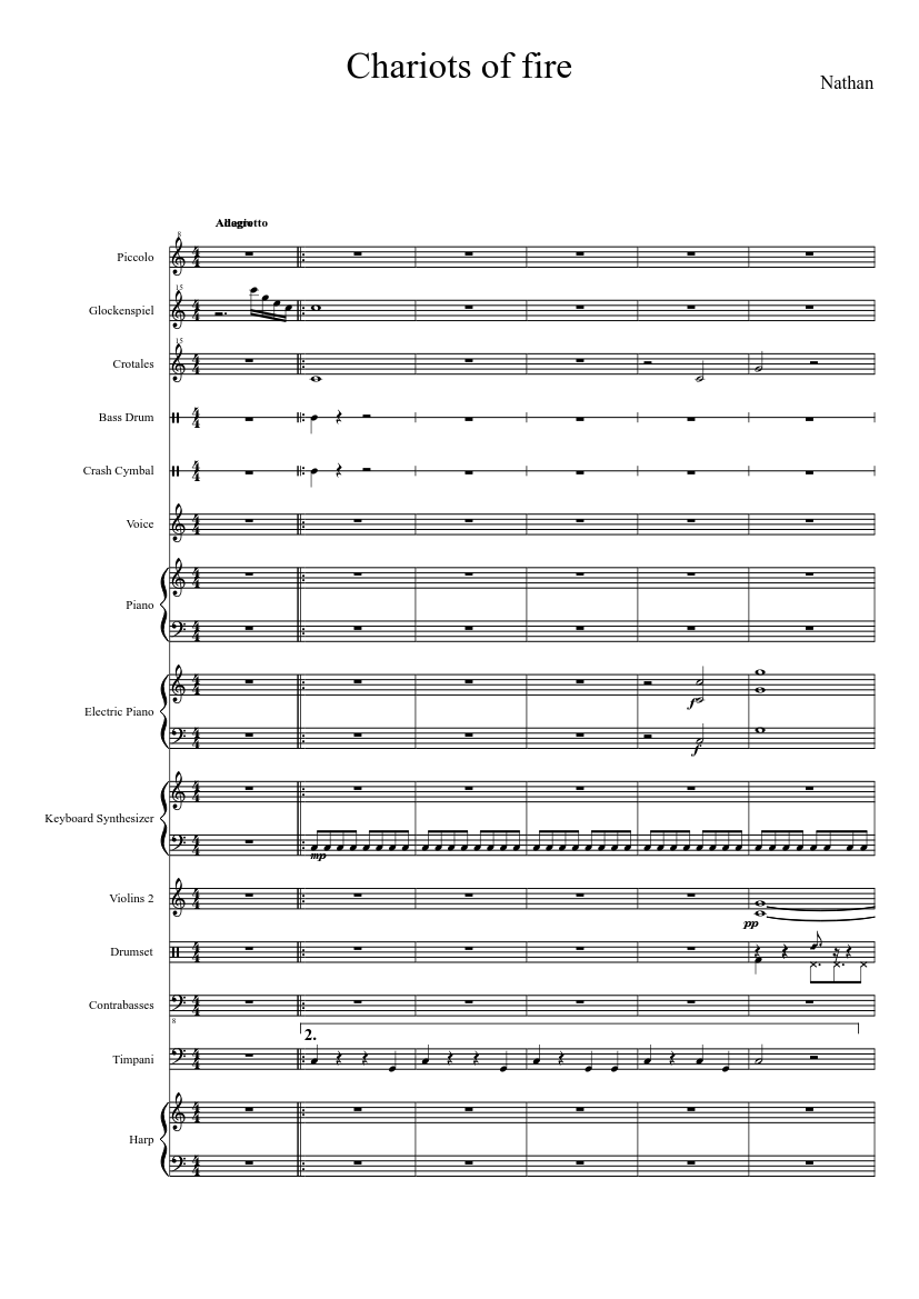 """Vangelis """"chariots of fire"""" sheet music (piano solo) in db major."""