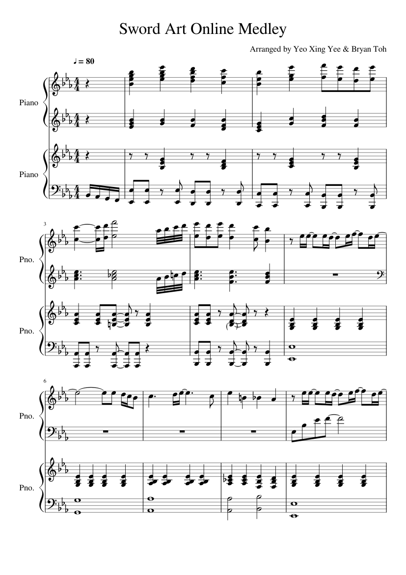 Sword Art Online Medley Sheet Music For Piano Download Free In Pdf