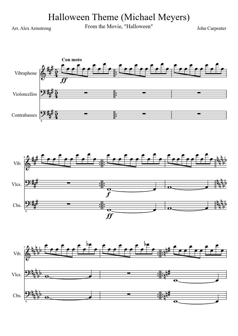 Halloween Theme (Michael Meyers) sheet music composed by John Carpenter \u2013 1  of 2