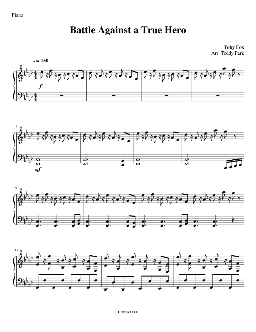 Undertale Piano - Battle Against a True Hero sheet music for Piano