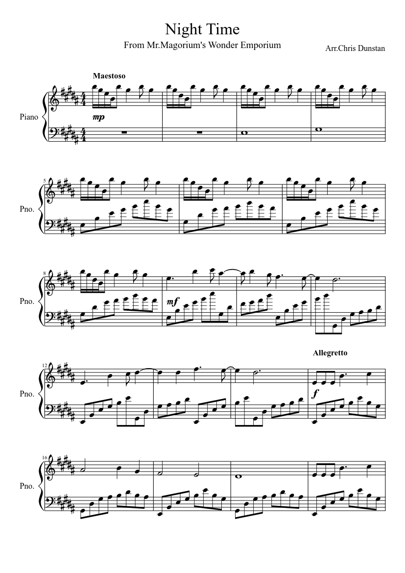 night time sheet music for piano (solo)   musescore.com  musescore.com