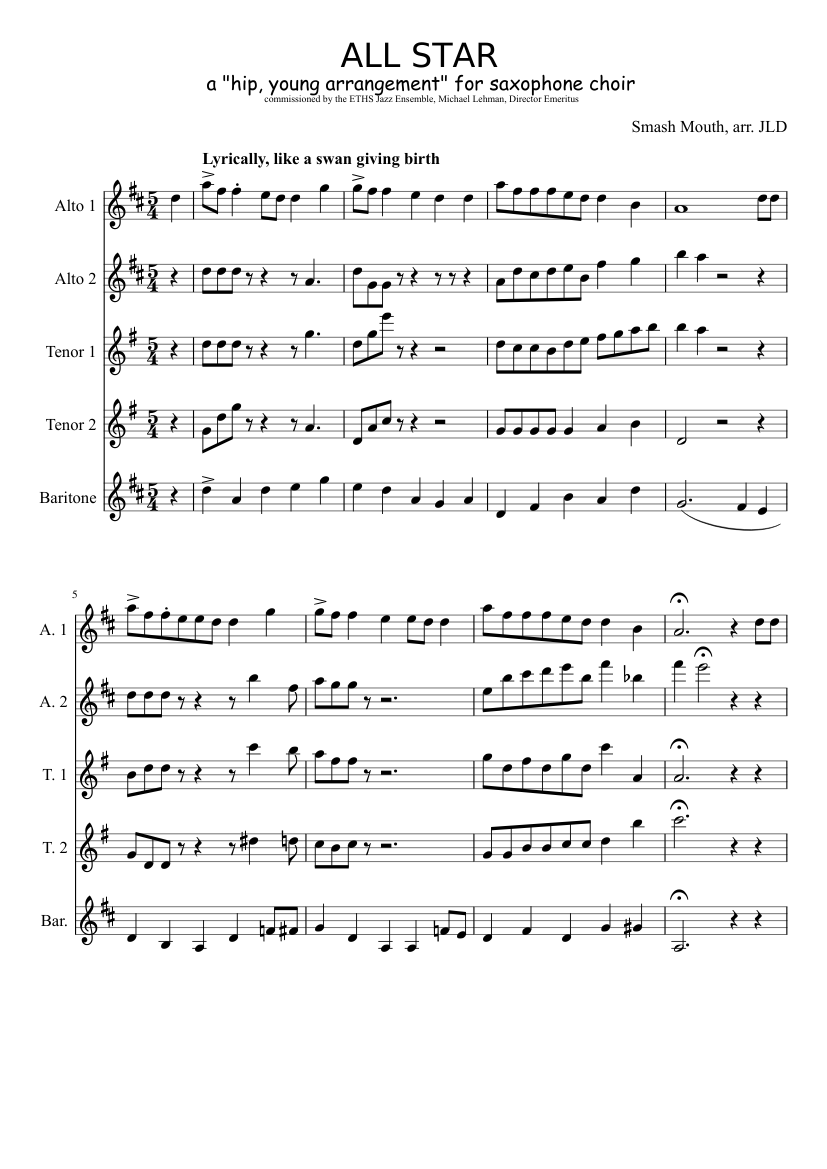 aa8ef5669d25 ALL STAR sheet music composed by Smash Mouth