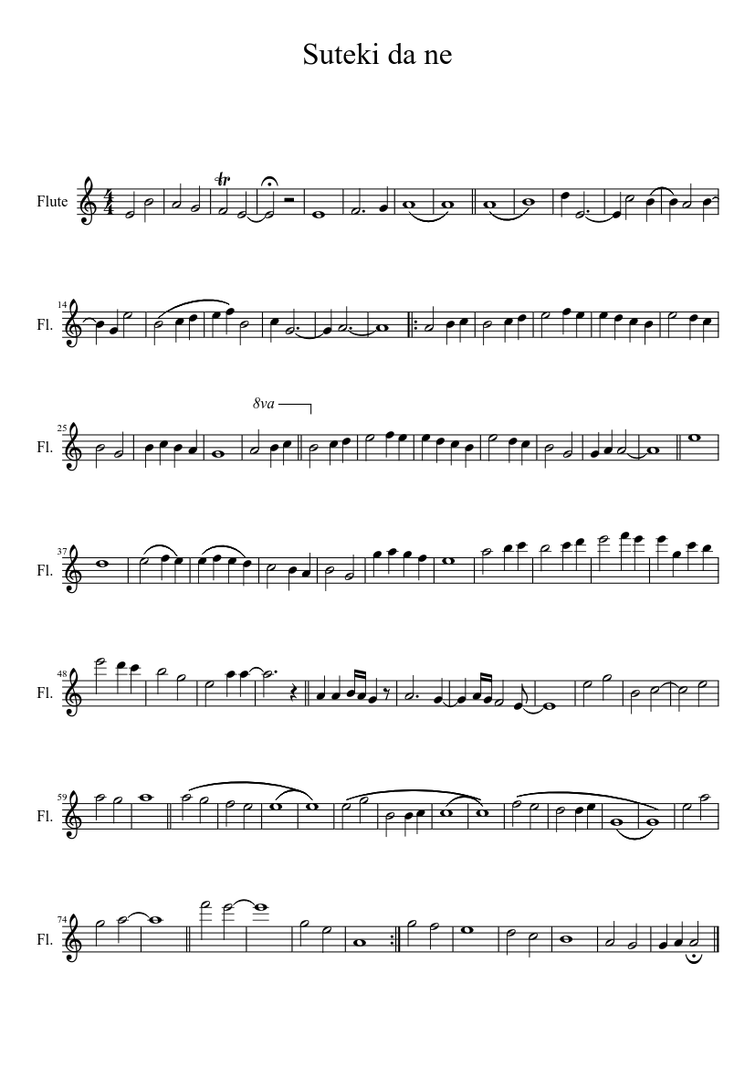 Suteki da ne sheet music download free in pdf or midi.