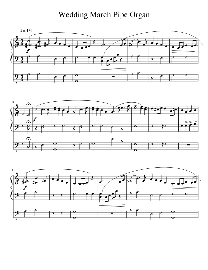 Wedding March Pipe Organ Sheet Music 1 Of 2 Pages
