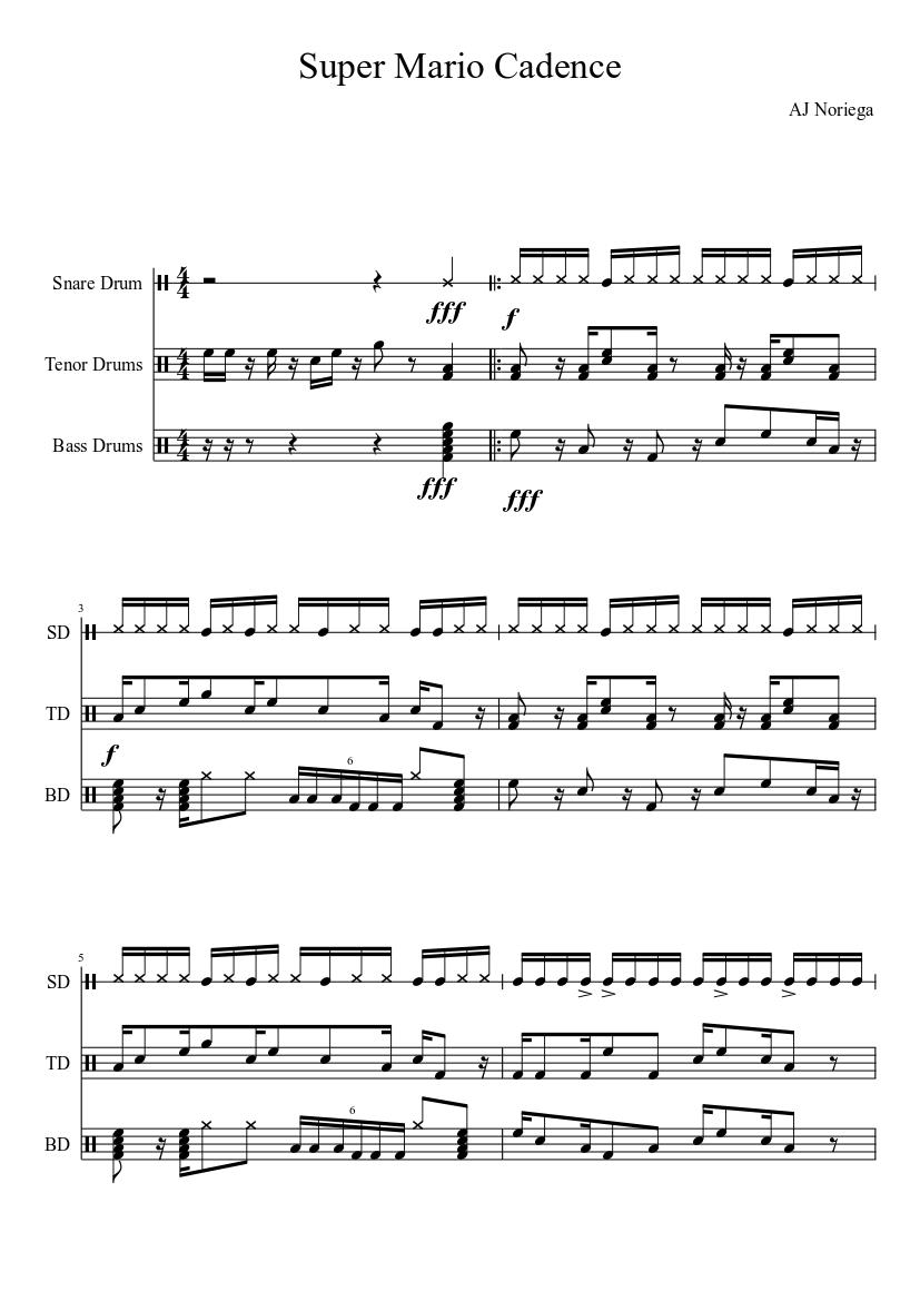 super mario cadence sheet music download free in pdf or midi