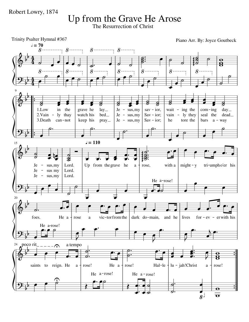 up from the grave he arose sheet music for piano (solo) | download and  print in pdf or midi free sheet music for up from the grave he arose by  robert lowry | musescore.com  musescore.com