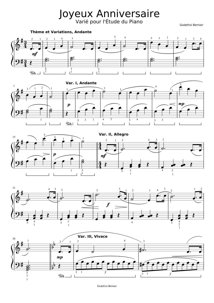 Partition Joyeux Anniversaire Piano