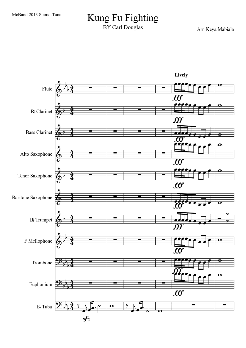 Kung-fu fighting for pep band sheet music download free in pdf or midi.