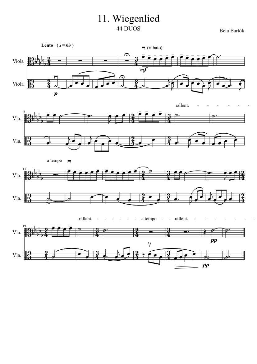 Bartók 44 Duos - 11  Wiegenlied sheet music for Viola
