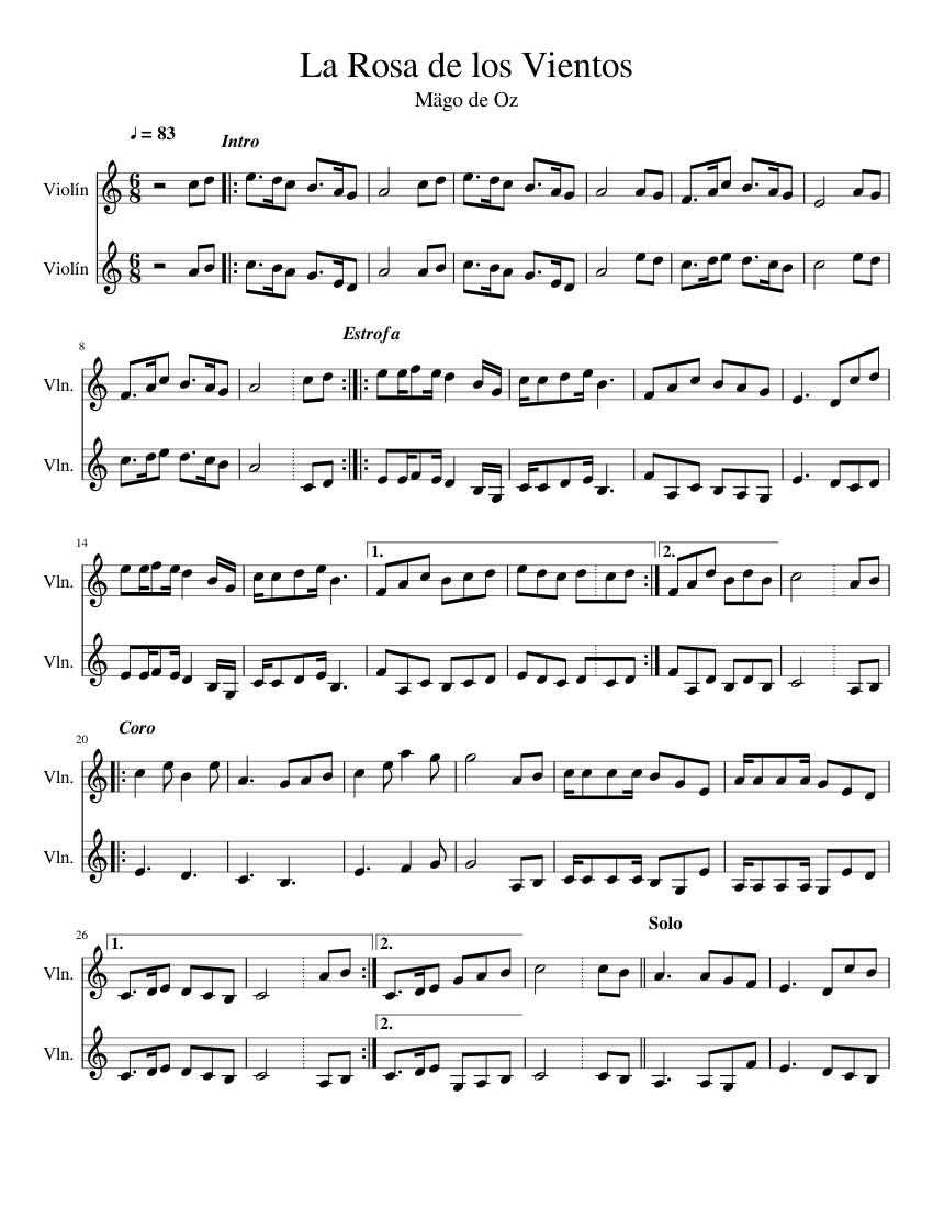 La Rosa De Los Vientos Sheet Music For Violin String Duet Musescore Com