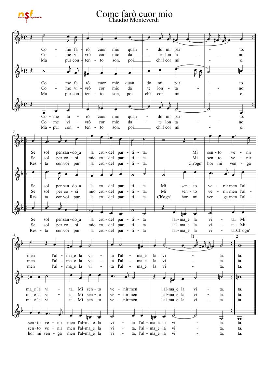 Come Farò Cuor Mio Monteverdi Ssa Sheet Music Download Free In Pdf