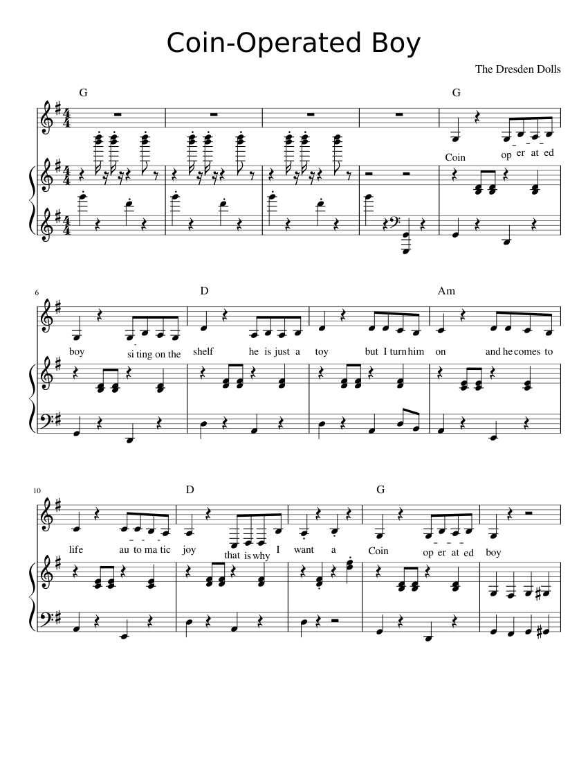 """The dresden dolls """"coin-operated boy"""" sheet music in g major."""