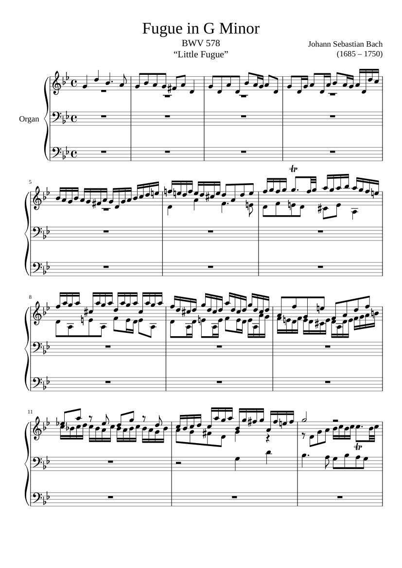 "fugue in g minor, bwv 578, ""little fugue"" sheet music for organ (solo) |  musescore.com  musescore.com"