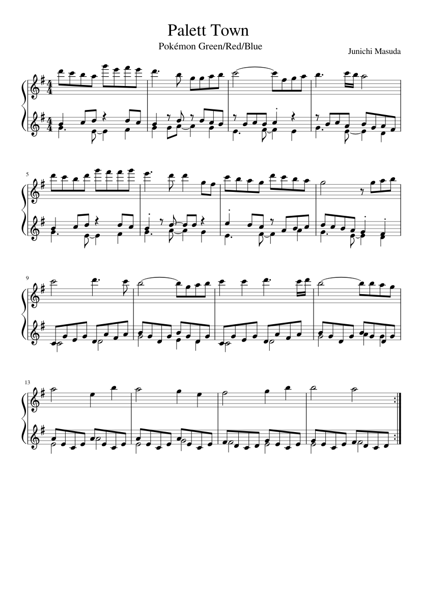 Palett Town sheet music composed by Junichi Masuda – 1 of 1 pages