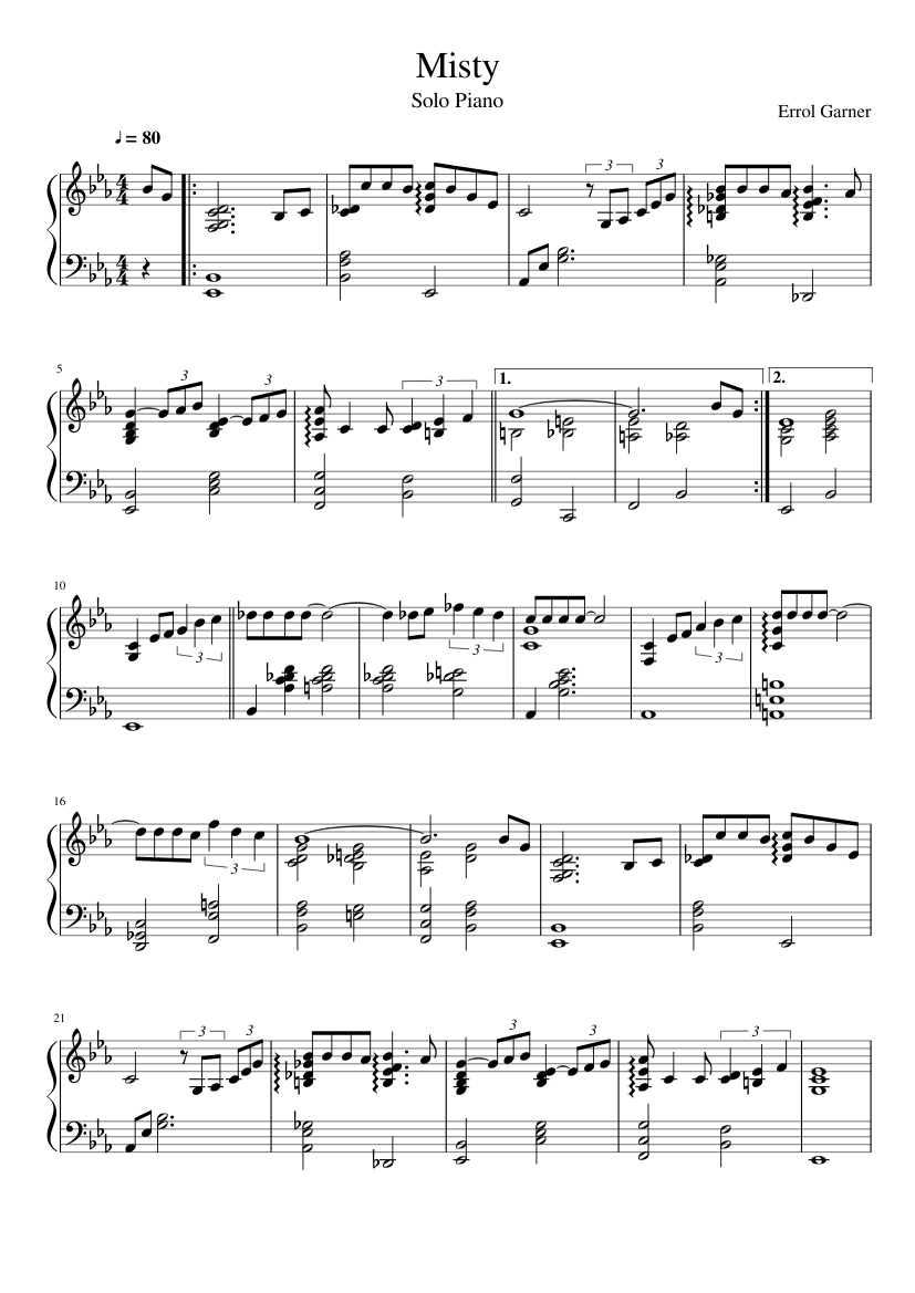 Misty Piano Solo Sheet Music For Piano Download Free In Pdf Or Midi