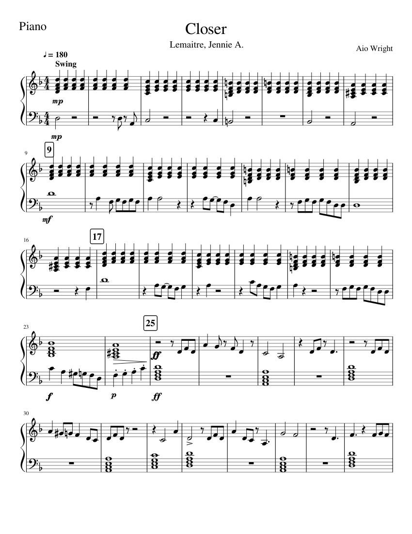 Closer   Lemaitre Piano Sheet music for Piano Solo   Musescore.com