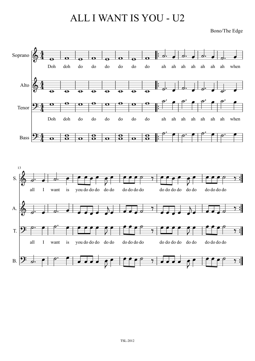 All I want is you sheet music for Voice download free in PDF