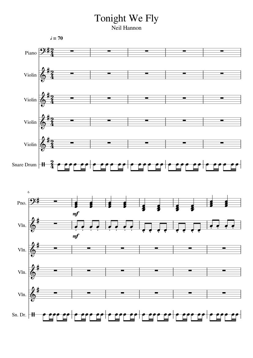 Tonight We Fly The Divine Comedy Sheet Music For Piano Violin