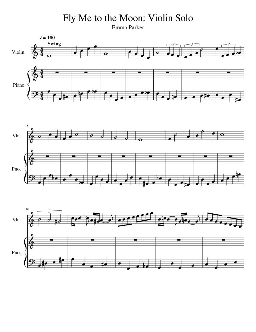 Fly Me to the Moon: Violin Solo sheet music for Violin, Piano